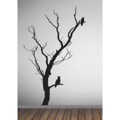 Pöllöt puussa sisustustarra