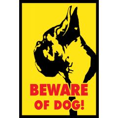 Bokseri varo koiraa kyltti