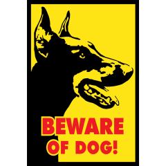 Dobermanni varo koiraa kyltti