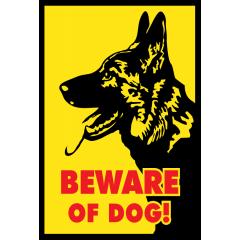 Saksanpaimenkoira varo koiraa kyltti